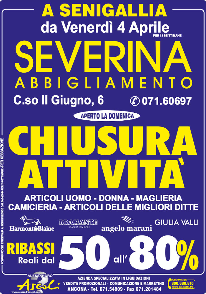 Organizzazione Chiusura Attività Severina Abbigliamento