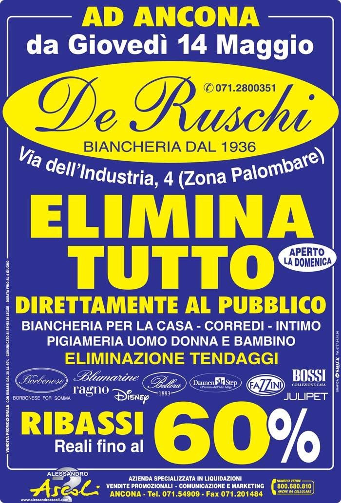 Vendita Promozionale Biancheria De Ruschi Ancona