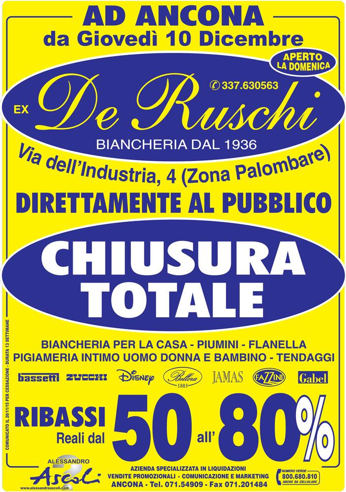 Organizzazione Chiusura Attività De Ruschi BIancheria