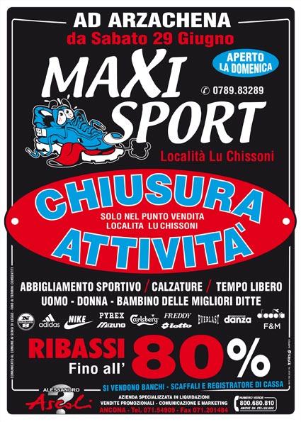 Arzachena: MaxiSport chiude e liquida tutto!
