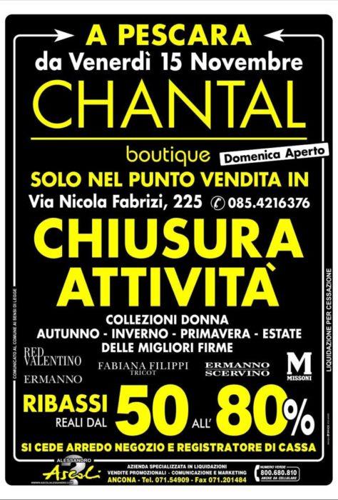 Pescara: CHANTAL chiude ed elimina tutto!