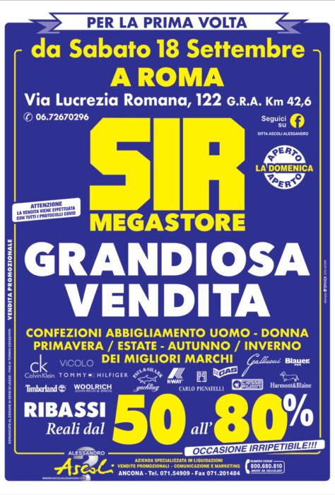 Roma: SIR MEGASTORE per la prima volta GRANDIOSA VENDITA!