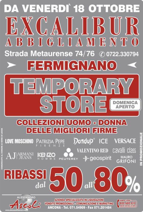Organizzazione Temporary Shop Excalibur Abbigliamento